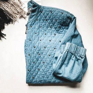 VINTAGE • quilted studded denim bomber jacket